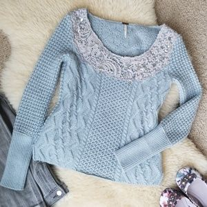 Free People Lace & Cable Sweater